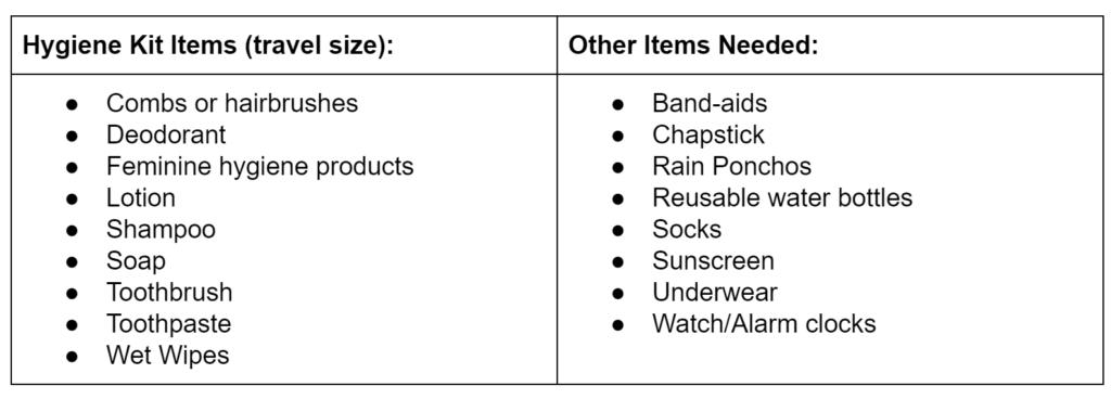 list for Hygiene Kits for Homeless